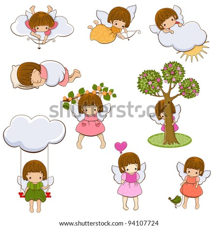 Set of little angel girls cupids isolated