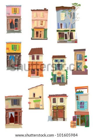 set of little buildings - cartoon