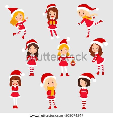 set of little christmas girl