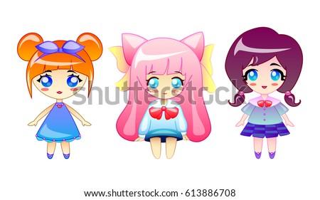 set of little cute girls vector