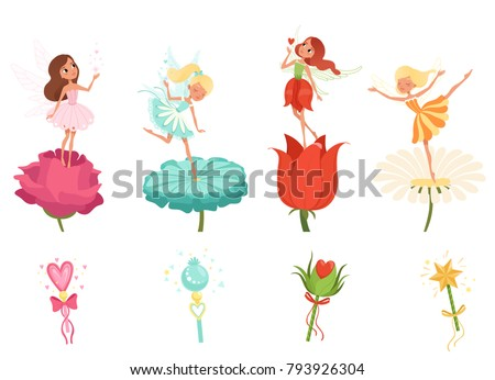 set of little fairies hovering