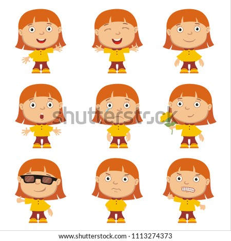 Set of little funny girl with red hair in different poses and emotion isolated on white background