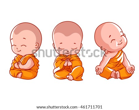 set of little meditating monks