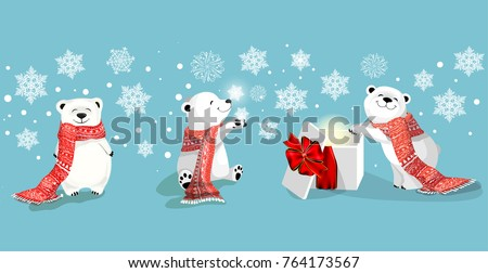 set of little polar bears in different poses on blue background with snowflakes. Chrismas concept.