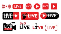 set of live streaming icon or live broadcasting online concepts. eps 10 vector. easy to modify
