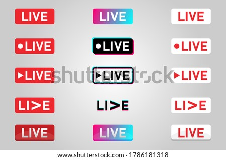 Set of live streaming icons. Symbols and buttons of live streaming, online stream. Live stream social media icons set. Vector illustration. EPS10