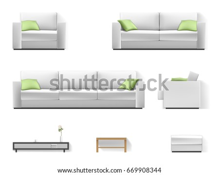 set of living room furniture