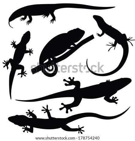 48e46376e2193 Lizard icons in simple style. Black lizards set isolated vector  illustratration Set of lizards silhouettes, vector illustration ...