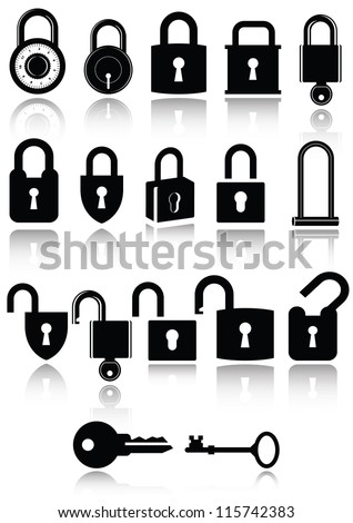 Set of lock and key icons. All vector parts are isolated and grouped. Colors are easy to customize.