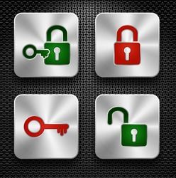 Set of lock and key icons. Steel buttons over metallic textured background