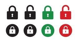 Set of lock icons, lock icon. Close and open lock symbols. Icons of locked and unlocked lock on white background. Safety symbols. Vector illustration.