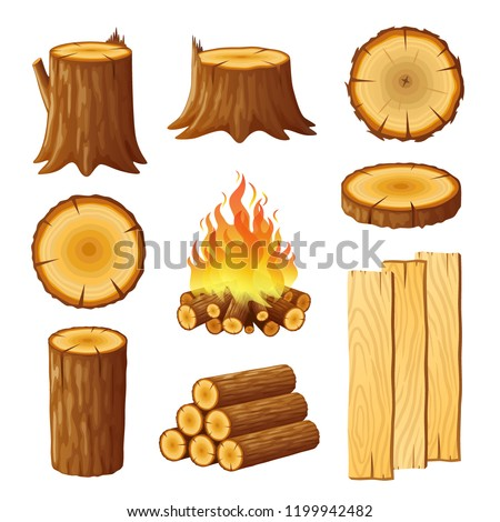 set of logging  stumps and