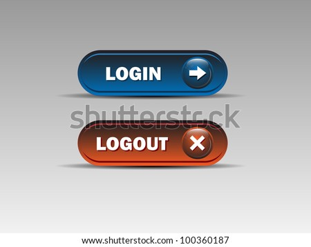 Set of login and logout buttons - Blue,Red.Vector illustration