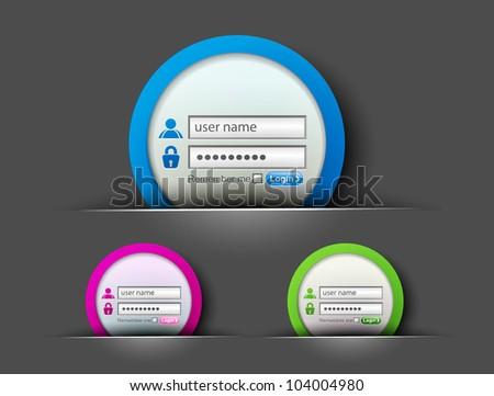 set of login password, security window screen, web form templates.