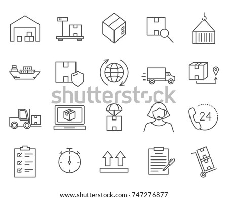Set of logistics Related Vector Line Icons. Includes such Icons as courier, shipping, transportation, transport, delivery and more.