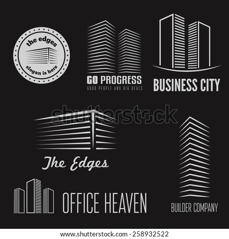 Set of logo and sticker, emblem, label and logotype elements for building company or business
