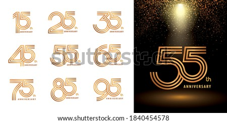 Set of Logo Anniversary logotype design, Celebrate Anniversary Logo third line for Congratulation celebration event, invitation, greeting, Abstract 15 25 35 45 55 65 75 85 95 silver and golden logo