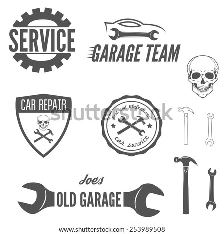 Set of logo, badge, emblem and logotype element for mechanic, garage, car repair and auto service