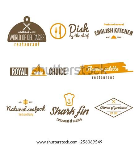 Set of logo, badge, emblem and logotype elements for restaurant, cafe and bar