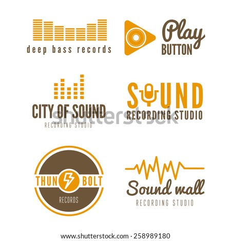 Set of logo, badge,label, sticker, emblem, print or logotype elements for sound recording studio, t-shirt or sound production