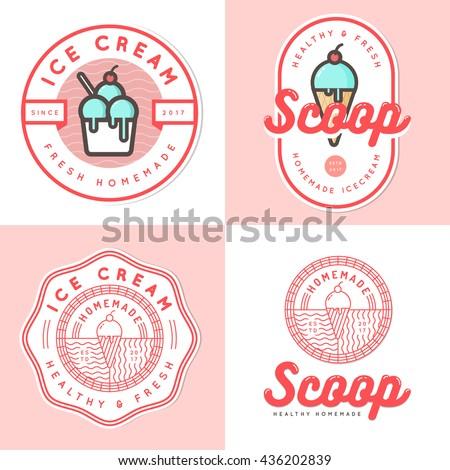 Set of logo, badges, banners, emblem and elements for ice cream shop. Vector illustration
