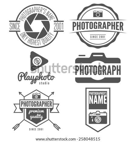 Set of logo, emblem, label or logotype elements for studio or photographer, photograph