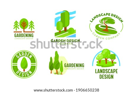 Set of Logo Garden Landscape Design. Gardening, Green Landscaping Company Icons. Tree Park, Nature Eco Village Woodland and Parkland Horticulture and Planting Association. Cartoon Vector Illustration Stock photo ©