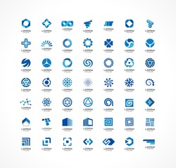 Set of logo icon design elements. Abstract ideas for business company. Finance, communication, technology, science and medical concepts. Pictograms for corporate identity template. Vector logotypes