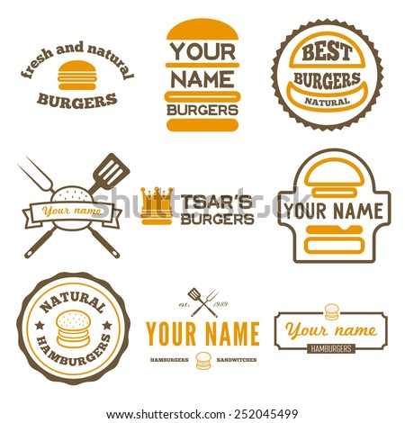 Set of logo, labels, stickers and logotype elements for fast food restaurant, cafe, hamburger and burger
