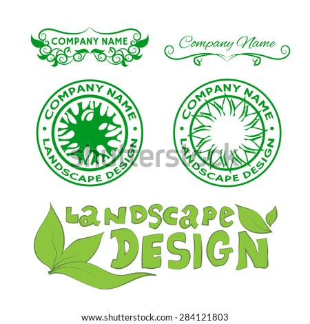 Set of logos and labels: landscape design. Collection symbols with leafs and trees. Vintage floral signs with curls. Doodle inscription: landscape design.