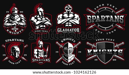 Set of logos, badges with ancient warriors. vector illustration with knight, spartan and gladiator. Perfect for fitness center, gym and fight club. Text is on the separate layers. (On dark background)