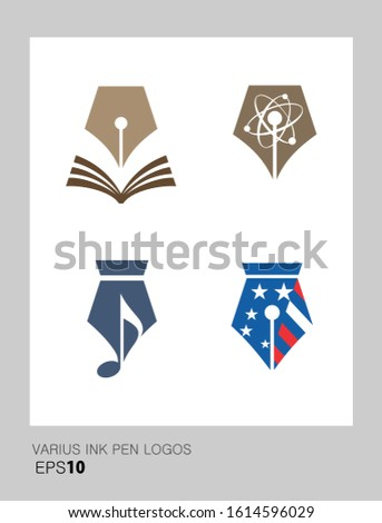 Set of logos based on fountain pen nib shape. Suitable for authors, writers, publishing companies. Editable EPS vector