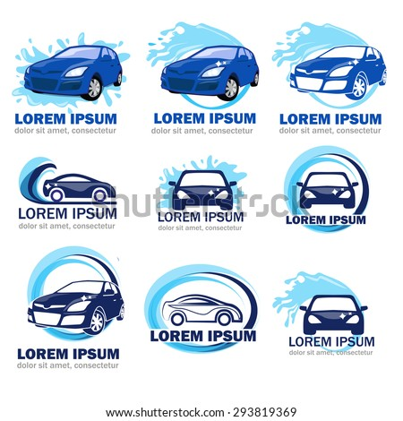 set of logos for car washing on a white background. Car logos. Logos of car cleaning. Blue logos of car washing on a white background.