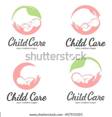 Set of logos for child care, motherhood and childbearing