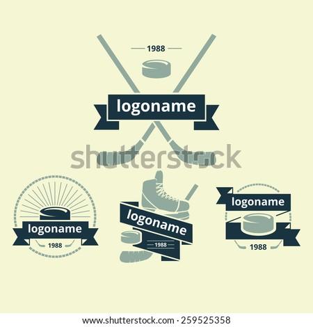 set of logos for ice hockey