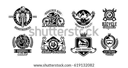 set of logos  mountain bike