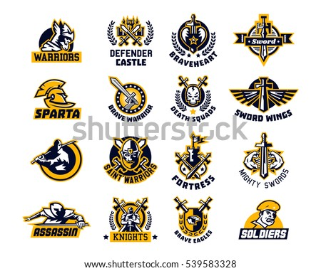 Set of logos on the sword and warrior. Viking, a knight, a Spartan soldier, killer, Paladin, a dagger. Castle, Tower, Fortress, flag. The heart, the eagle, the muscles, wings, wreath.