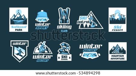 set of logos on the theme of