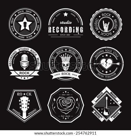 Set of logos rock music and recording studios Music design elements with font type and illustration vector Vintage label Rock Beast T-Shirt Print