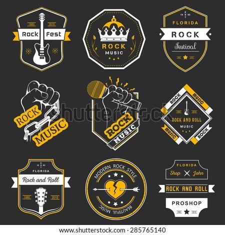 set of logos rock music and