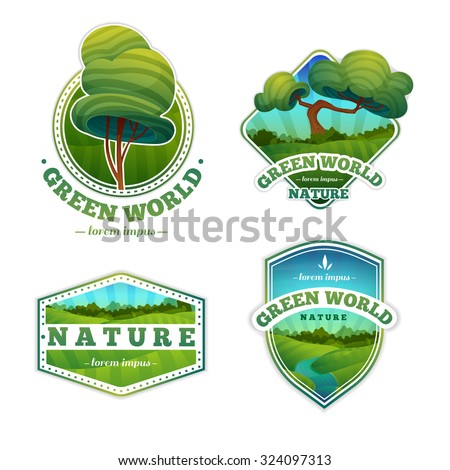 Set of logos, signs, badges with nature, landscape, trees. Cartoon style. Vector. Place for your text.
