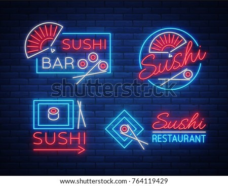 Set of logos, signs in neon style on sushi, Japanese food, seafood. A collection of bright luminous signs, advertising a restaurant bar of Japanese food sushi. Vector illustration.