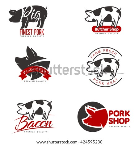 set of logos with a pig  vector
