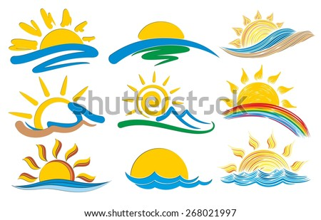 set of logos with the sun and