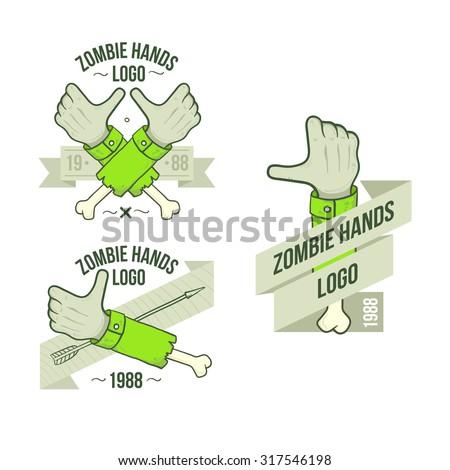 set of logos zombie hands