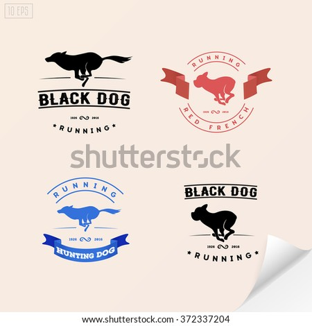 set of logotypes with running