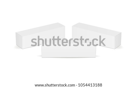 Set of long cardboard boxes isolated on white background. Packaging mockup for design or branding. Vector illustration