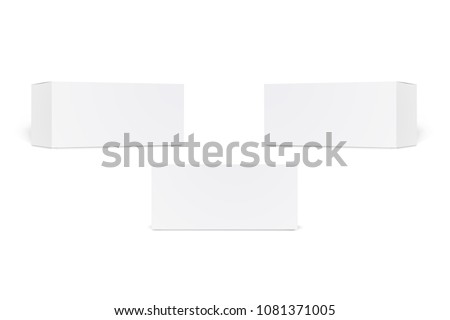 Set of long white cardboard boxes isolated on white background. Set of blank product packaging boxes isolated. Realistic Cardboard box, container, packaging. Mock Up Template Ready For Your Design