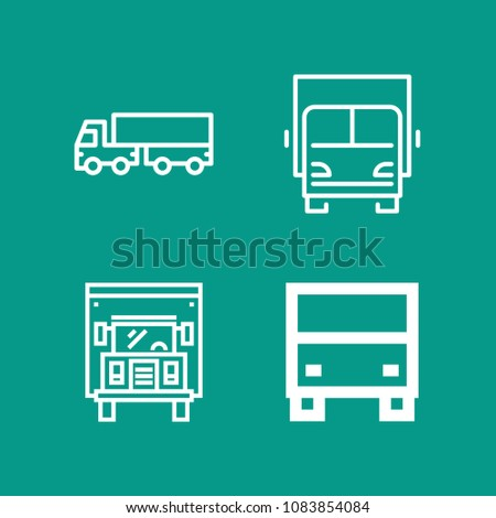 Set of 4 lorry outline icons such as lorry