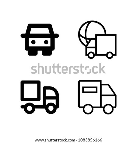 Set of 4 lorry outline icons such as lorry, truck